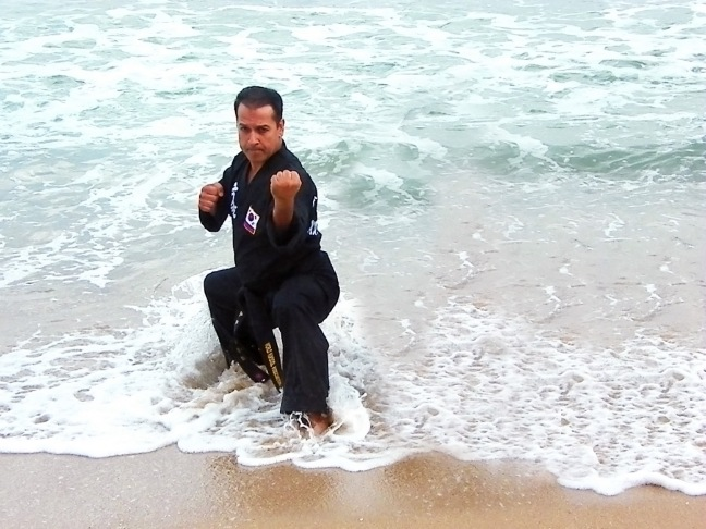 Master Saidi training on the beach at a Kuk Sool Won conference in Korea